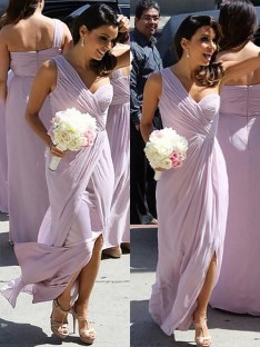 A-Line One-Shoulder Chiffon Ruched Floor-Length Bridesmaid Dress