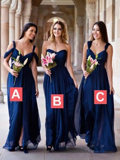 A-Line Chiffon Floor-Length Bridesmaid Dress