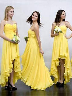 A-Line Asymmetrical Spaghetti Straps Chiffon Bridesmaid Dress