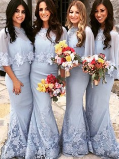 Mermaid Scoop Satin Floor-Length Bridesmaid Dress
