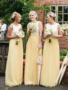 A-Line Scoop Chiffon Floor-Length Bridesmaid Dress
