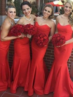 Mermaid Sweetheart Floor-Length Satin Bridesmaid Dress