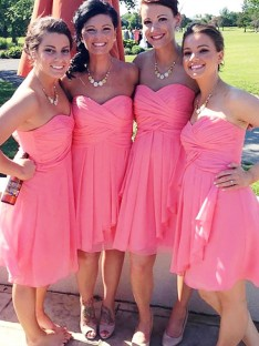 A-Line Short/Mini Sweetheart Chiffon Bridesmaid Dress