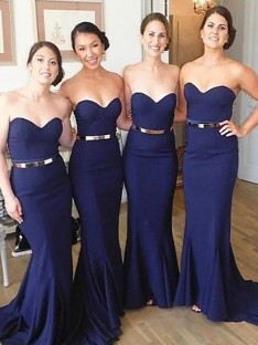 Mermaid Sweetheart Sweep/Brush Train Satin Bridesmaid Dress