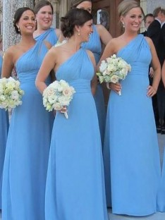 Sheath One-Shoulder Chiffon Floor-Length Bridesmaid Dress
