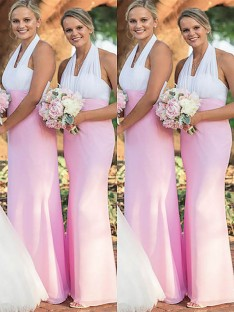 Sheath Halter Chiffon Floor-Length Bridesmaid Dress