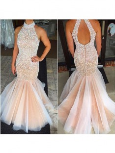 Mermaid Halter Tulle Floor-Length Dress