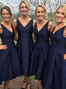 A-Line V-neck Tea-Length Satin Bridesmaid Dress