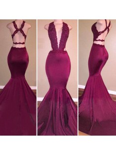 Mermaid V-Neck Satin Long Dress