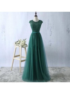 A-Line Scoop Tulle Floor-Length Dress