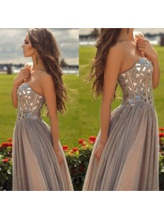 A-Line Sweetheart Chiffon Floor-Length Dress