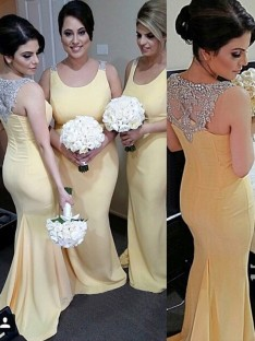 Mermaid Scoop Long Beading Satin Bridesmaid Dress