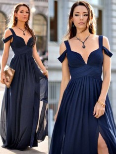 A-Line Straps Long Chiffon Bridesmaid Dress