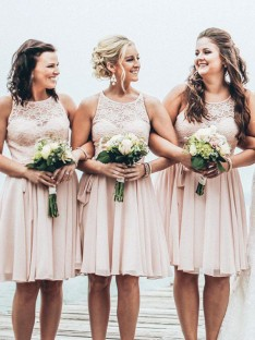 A-Line Scoop Short Chiffon Bridesmaid Dress