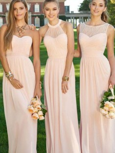 A-Line Long Ruched Chiffon Bridesmaid Dress
