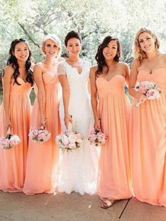 A-Line Sweetheart Long Ruched Chiffon Bridesmaid Dress
