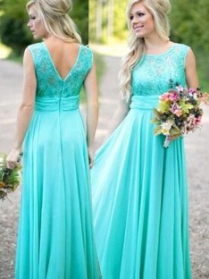 A-Line Scoop Long Lace Chiffon Bridesmaid Dress