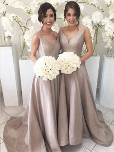 A-Line V-neck Long Taffeta Bridesmaid Dress