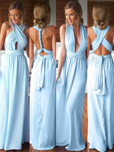 A-Line Chiffon Long Bridesmaid Dress