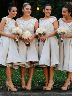 A-Line Off-the-Shoulder Knee-Length Bridesmaid Dress