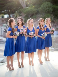 A-Line V-neck Short Chiffon Bridesmaid Dress