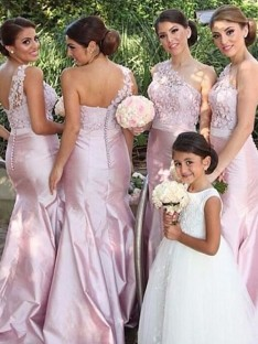 Mermaid One-Shoulder Satin Long Bridesmaid Dress