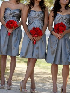 Sheath Sweetheart Satin Short Bridesmaid Dress