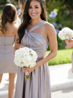 A-Line Long Satin Bridesmaid Dress