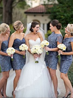 Sheath Lace Short Bridesmaid Dress