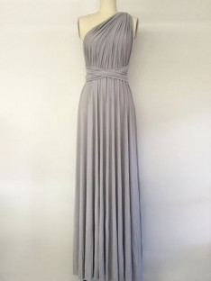 A-Line One-Shoulder Long Chiffon Bridesmaid Dress