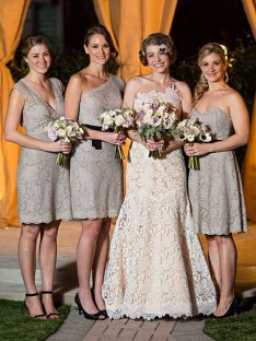 Sheath Lace Long Bridesmaid Dress