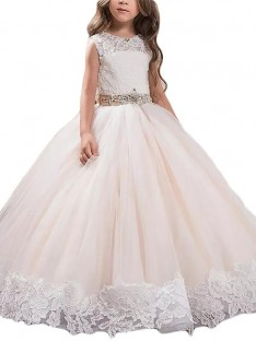 Ball Gown Scoop Lace Floor-Length Tulle Flower Girl Dress