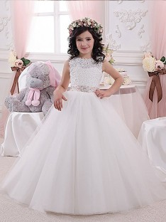 Ball Gown Scoop Tulle Floor-Length Flower Girl Dress