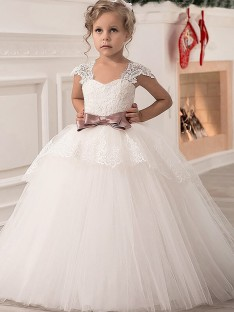Ball Gown Straps Tulle Floor-Length Flower Girl Dress