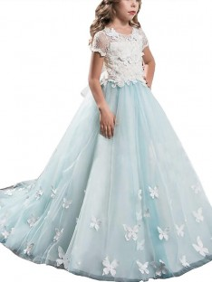 A-line/Princess Scoop Lace Tulle Floor-Length Flower Girl Dress