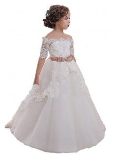 Ball Gown Off-the-Shoulder Tulle Flower Girl Dress