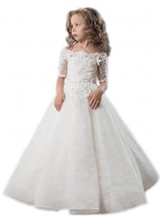 Ball Gown Off-the-Shoulder Satin Floor-Length Flower Girl Dress