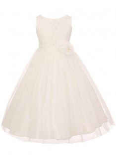 A-line/Princess Scoop Tulle Ankle-length Flower Girl Dress