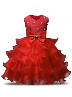 Ball Gown Scoop Tea-length Organza Flower Girl Dress