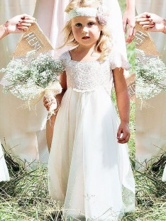 A-line/Princess Square Lace Floor-Length Chiffon Flower Girl Dress