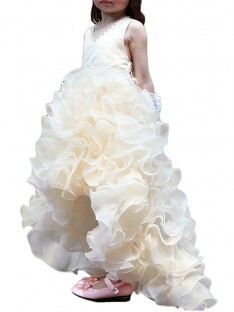 A-line/Princess V-neck Asymmetrical Organza Flower Girl Dress
