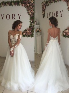 A-Line/Princess Organza Off-the-Shoulder Sweep/Brush Train Wedding Dress