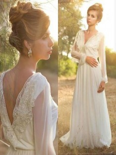 A-Line/Princess V-neck Lace Chiffon Sweep/Brush Train Wedding Dress