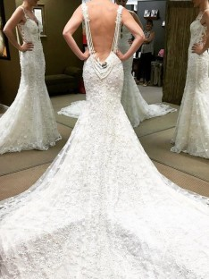 Ball Gown Floor-Length Off-the-Shoulder Lace Wedding Dress