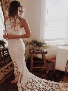 Trumpet/Mermaid Halter Lace Chapel Train Wedding Dress