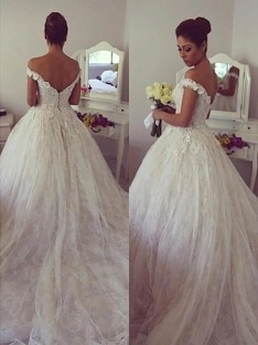 Ball Gown Off-the-Shoulder Lace Court Train Wedding Dress