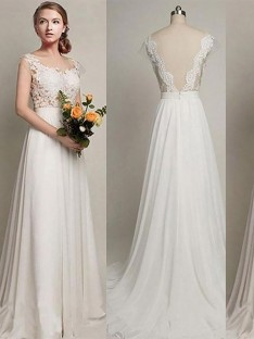 A-Line/Princess Chiffon Scoop Sweep/Brush Train Wedding Dress