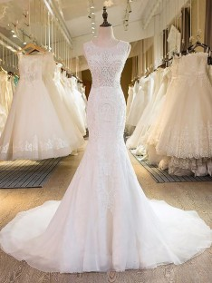 Trumpet/Mermaid Scoop Tulle Sweep/Brush Train Wedding Dress
