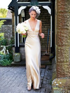 Sheath/Column Satin V-neck Sweep/Brush Train Wedding Dress