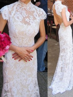 Sheath/Column High Neck Lace Sweep/Brush Train Lace Wedding Dress